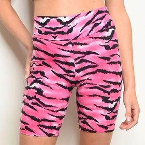 Trendy boutique Shorts - Pink & black zebra print biker shorts, NEW!